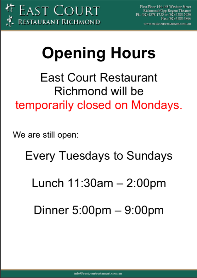 Opening Hours Updated 2021